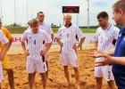 Vasiļjevam <i>hat-trick</i>, Latvijas pludmales futbolisti pagarinājumā tomēr zaudē Lietuvai