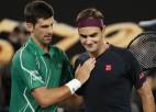 Džokovičs iztur Federera sākuma spiedienu un uzvar grandu 50. cīņā