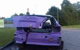 Foto: Autokrosa sacīkstēs sportists uzmet vairākus kūleņus un iznīcina ''BMW''
