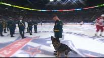 Simbolisko iemetienu pirms SKA spēles veic suns