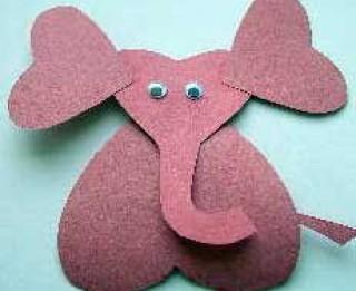 """Paša rokām taisīta apsveikuma kartiņa """"Mīlestības zilonis"""""""