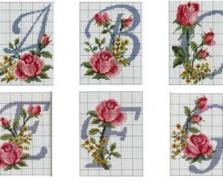 Ar rozēm izšūti alfabēta burti taviem rokdarbiem