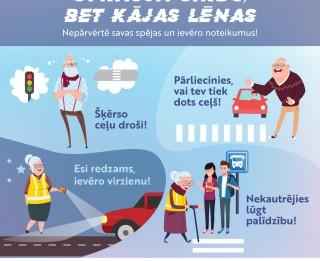 7 vērtīgi padomi senioriem gājējiem drošākai dalībai ceļu satiksmē