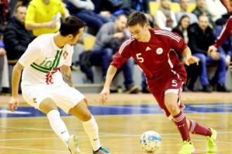 Latvijas U21 telpu futbola izlase vēlreiz piekāpjas spēcīgajai Portugālei