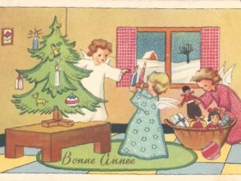 Foto: Senās Ziemassvētku pastkartes ar eņģeļu tēmu