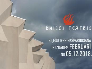 Sāksies biļešu iepriekšpārdošana uz Dailes teātra izrādēm februārī