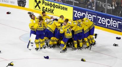 Lundkvists un zviedri bullīšos gāž Kanādu no troņa