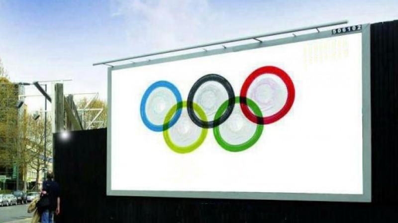 Londonas olimpisko spēļu prezervatīvu oficiālā piegādātāja vides reklāma  Foto: twitter.com/TaylorHerringUK