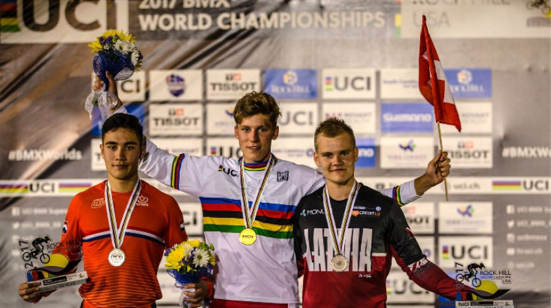 Mikus Strazdiņš (pa labi)  Foto: 2017 UCI BMX World Championships