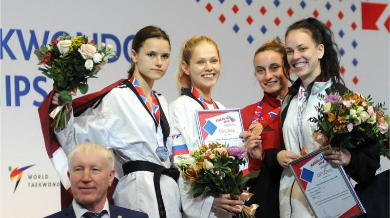 Inese Tarvida uz Eiropas pjedestāla Foto: Murat Tahran / World Taekwondo Europe