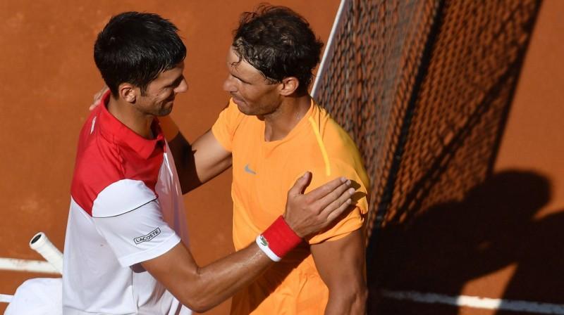 Novaks Džokovičs un Rafaels Nadals pēc Romas pusfināla Foto: imago/Scanpix