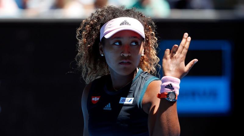 Naomi Osakai šodien bija daudz iemeslu būt neapmierinātai ar savu spēli. Foto: AFP/Scanpix