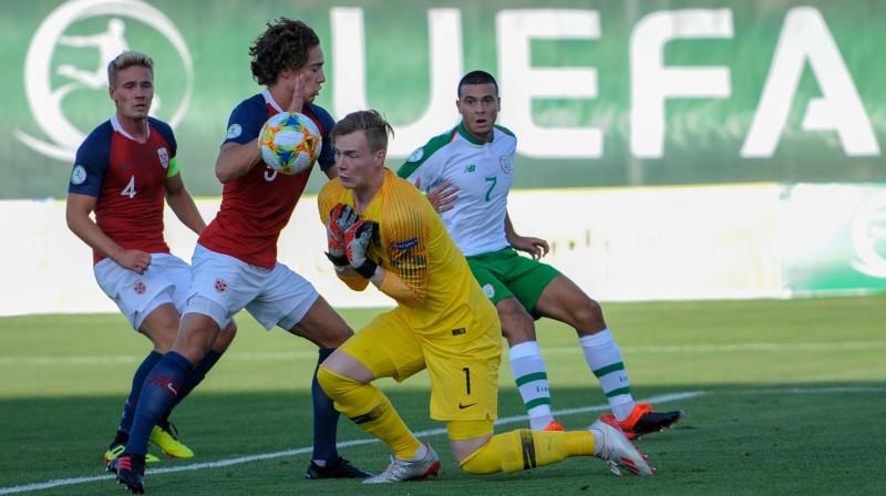Epizode spēlē starp Norvēģijas un Īrijas U19 izlasēm. Foto: Asatur Yesayants/Sputnik/Scanpix