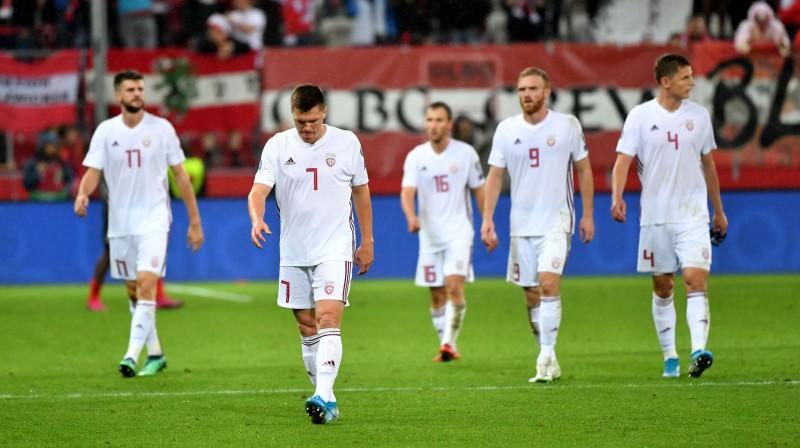Latvijas izlase Austrijā. Foto: AFP/Scanpix