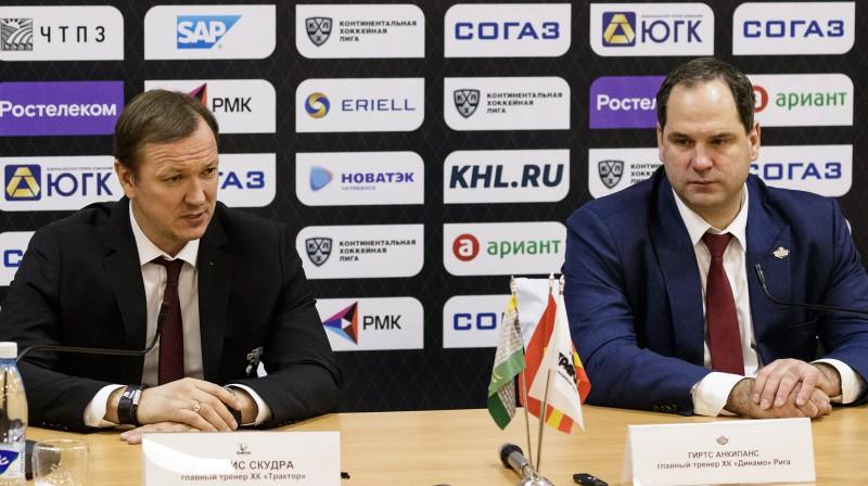 """Pēteris Skudra un Ģirts Ankipāns pēc Rīgas """"Dinamo"""" uzvaras Čeļabinskā. Foto: hctraktor.org"""