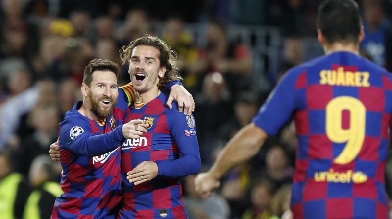 """Barcelona"" zvaigznes pēc vārtu guvuma. Foto: Joan Monfort/AP/Scanpix"