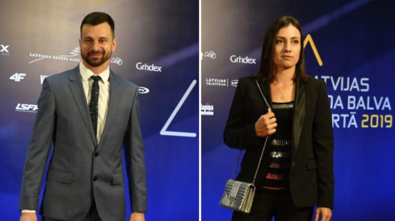 Martins Dukurs un Anastasija Sevastova, ierodoties uz Gada balvas ceremoniju. Foto: Romāns Kokšarovs/F64