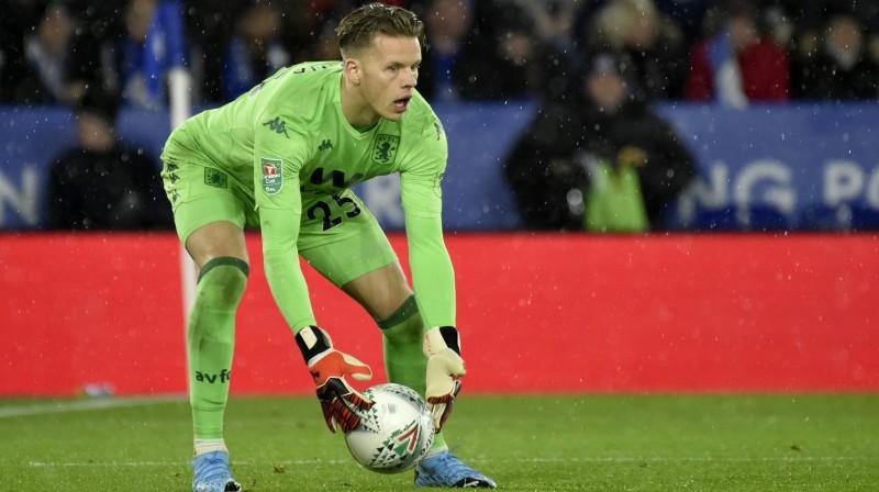 """Birmingemas """"Aston Villa"""" vārtsargs Erjans Nīlands. Foto: Rui Vieira/AP/Scanpix"""