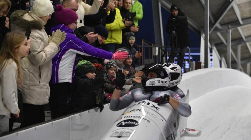 Oskars Melbārdis Siguldas trases finišā. Foto: Romāns Kokšarovs/F64