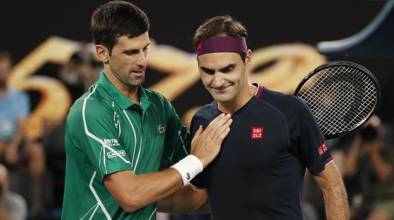 Novaks Džokovičs un Rodžers Federers. Foto: Reuters/Scanpix