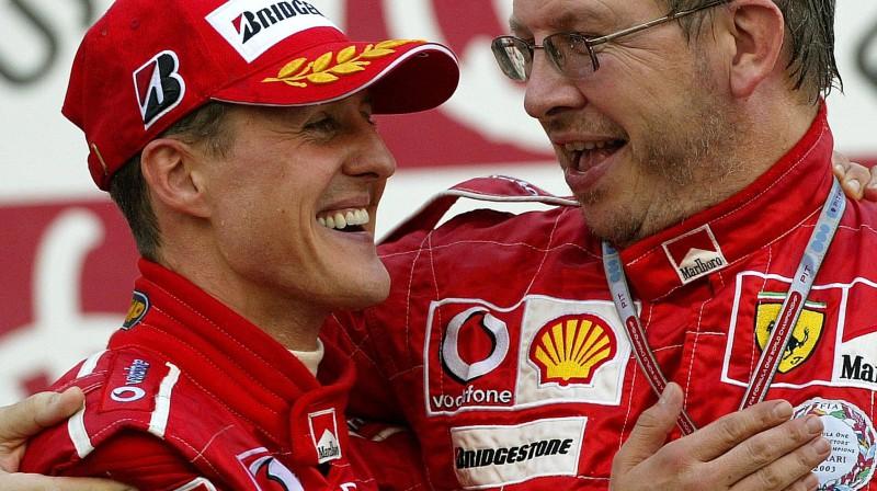 Mihaels Šūmahers un Ross Brauns. Foto: Motorsport.com