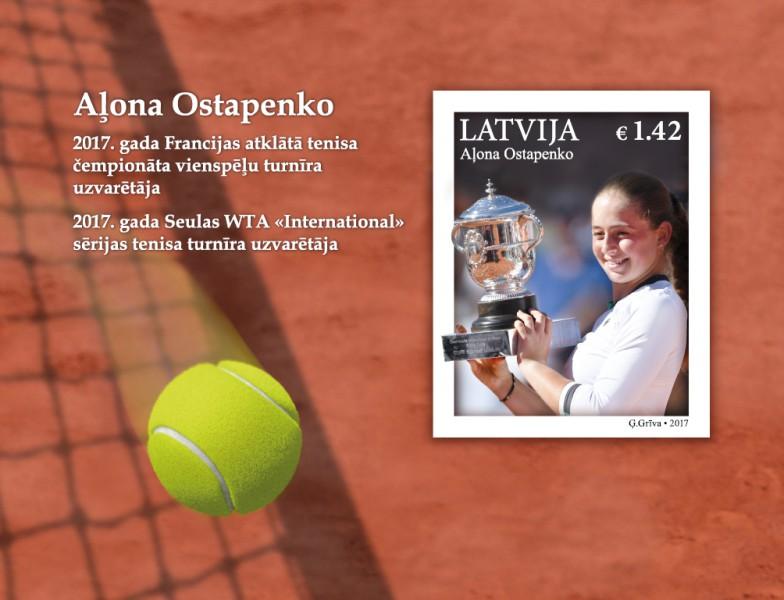 """""""Latvijas Pasts"""" par godu Ostapenko izdod jaunas pastmarkas"""