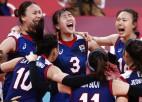 Dienvidkorejas volejbolistes olimpisko spēļu ceturtdaļfinālā šokē Turciju