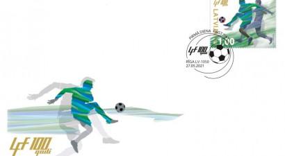 Izdod Futbola federācijas simtgadei veltītu pastmarku