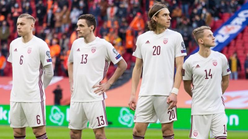 Kristers Tobers, Raivis Jurkovskis, Roberts Uldriķis un Andrejs Cigaņiks. Foto: LFF
