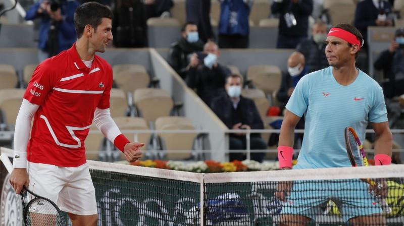 Novaks Džokovičs un Rafaels Nadals. Foto: AP/Scanpix