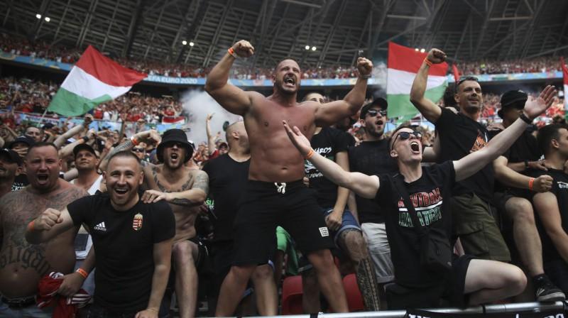 Ungārijas futbola izlases līdzjutēji. Foto: Alex Pantling/AP/Scanpix
