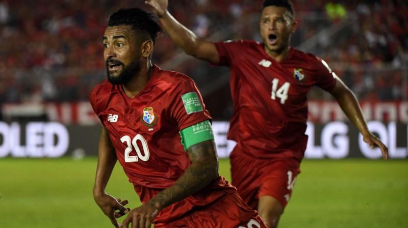 Panamas izlases futbolists Anibals Godojs (Nr. 20) svin vārtu guvumu. Foto: Rogelio Figureoa/AFP/Scanpix